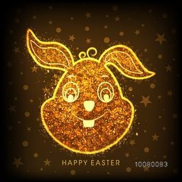 Cute Bunny face made by golden glitter on stars decorated background for Happy Easter celebration.