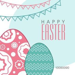 Elegant greeting card design with floral decorated Eggs for Happy Easter celebration.