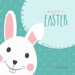 Elegant greeting card design with cute smiling bunny for Happy Easter celebration.