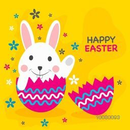 Cute bunny in broken egg on flowers decorated yellow background for Happy Easter celebration.