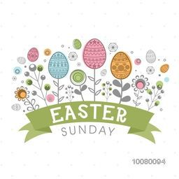 Elegant greeting card design with floral decorated eggs for Happy Easter Sunday celebration.