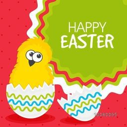 Elegant greeting card design with illustration of cute chick in broken egg for Happy Easter celebration.