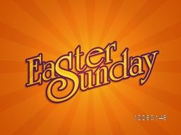 Stylish text Easter Sunday on shiny orange rays background, can be used as poster, banner or flyer design.