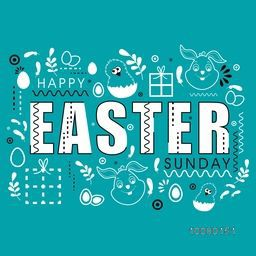Elegant greeting card design with creative ornaments for Happy Easter Sunday celebration.