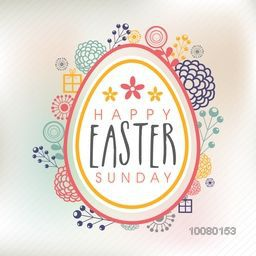 Elegant greeting card design with creative illustration of egg on colorful flowers decorated background.