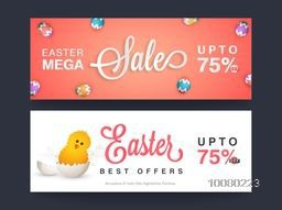 Mega Sale with 75% discount offer, Creative website header or banner set decorated with colorful eggs and cute chick for Happy Easter celebration.