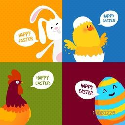 Set of greeting card with cute cartoon characters including Bunny, Chicken, Hen and Egg for Happy Easter celebration.