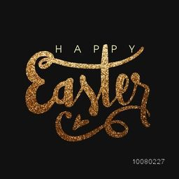 Elegant greeting card design with golden glittering text Happy Easter on black background.