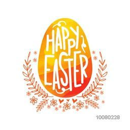 Elegant greeting card design with stylish text Happy Easter on creative egg and floral design decorated background.