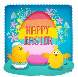 Creative elegant greeting card design with colorful Egg and Cute Chicks on beautiful flowers decorated sky blue background for Happy Easter celebration.