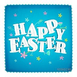 Elegant greeting card design with flowers decorated stylish paper text Happy Easter on sky blue background.