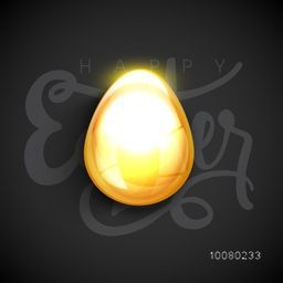 Creative glowing Egg on stylish text Happy Easter decorated grey background.