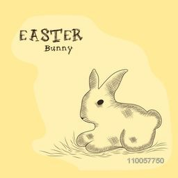 Happy Easter celebration with sketch of a rabbit on yellow background.