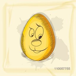 Funny cartoon of a golden egg on grungy background for Happy Easter celebration.