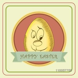 Happy Easter celebration with cartoon of a smiling egg, can be used as poster or banner design.