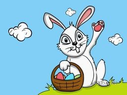 Cute smiling bunny holding colorful eggs basket on nature background for Happy Easter celebration.