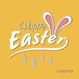 Happy Easter celebration greeting card design with bunny ears and hanging eggs on yellow background.