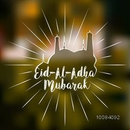 Stylish text Eid-Al-Adha Mubarak with creative Mosque on shiny blurred background for Muslim Community, Festival of Sacrifice Celebration.