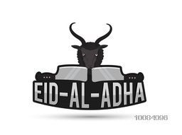 Stylish text Eid-Al-Adha with Goat and Chopper for Muslim Community, Festival of Sacrifice Celebration, Can be used as label or sticker design.