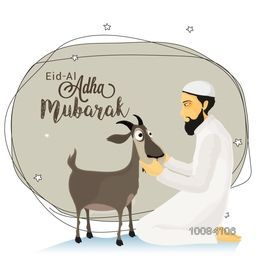 Illustration of a Islamic Man in Traditional Outfit with Goat for Muslim Community, Festival of Sacrifice, Eid-Al-Adha Mubarak.