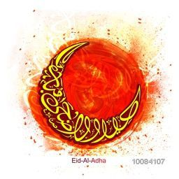 Stylish Arabic Islamic Calligraphy of Text Eid-Al-Adha Mubarak in Crescent Moon shape on abstract paint stroke background for Muslim Community, Festival of Sacrifice Celebration. Vector illustration.