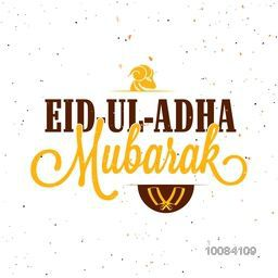 Vector Eid-Ul-Adha Mubarak Typography with Sheep Face and Chopper for Muslim Community, Festival of Sacrifice Celebration.