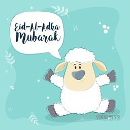 Cute Baby Sheep, Saying Eid-Al-Adha Mubarak, Beautiful vector card design for Muslim Community, Festival of Sacrifice Celebration.