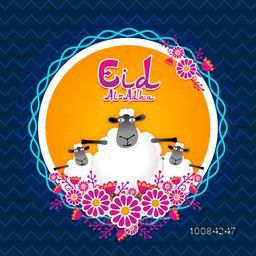 Illustration of Sheep with flowers decorated frame, Vector greeting card design for Muslim Community, Festival of Sacrifice, Eid-Al-Adha Celebration.