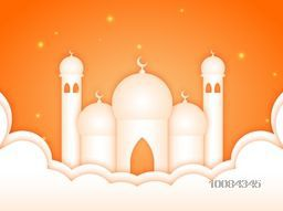 Vector creative illustration of a Mosque on glossy orange background for Islamic Festivals Celebration.