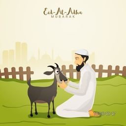 Muslim Community, Festival of Sacrifice, Eid-Al-Adha Mubarak with illustration of a Islamic Man and Goat on nature background. Vector illustration.