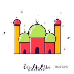 Colorful creative Mosque on stars decorated background for Muslim Community, Festival of Sacrifice, Eid-Al-Adha Mubarak. Vector illustration.
