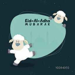Muslim Community, Festival of Sacrifice, Eid-Al-Adha Mubarak with cute Sheeps and silhouette of Mosque in a frame. Vector illustration.