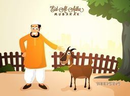 Illustration of a Islamic Man with Goat on nature background for Muslim Community, Festival of Sacrifice, Eid-Al-Adha Mubarak.