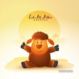 Creative illustration of a cute glossy Baby Sheep for Muslim Community, Festival of Sacrifice, Eid-Al-Adha Mubarak, Vector illustration.
