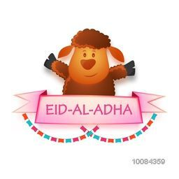 Illustration of a cute Baby Sheep with glossy banner for Muslim Community, Festival of Sacrifice, Eid-Al-Adha Celebration, Vector illustration.