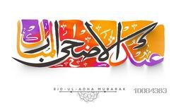 Colorful Arabic Islamic Calligraphy Text Eid-Al-Adha Mubarak, created by paint stroke for Muslim Community, Festival of Sacrifice Celebration, Vector illustration.