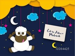 Illustration of a Baby Sheep, Star, Moon and Board hanging by creative clouds for Muslim Community, Festival of Sacrifice, Eid-Al-Adha Mubarak.