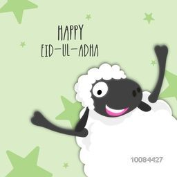 Muslim Community, Festival of Sacrifice, Eid-Al-Adha Celebration with illustration of a funny Sheep on stars decorated background.