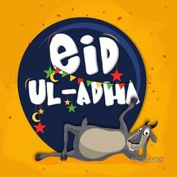 Muslim Community, Festival of Sacrifice, Eid-Al-Adha Celebration with illustration of Funny Goat, Vector greeting card illustration.