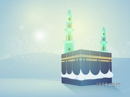 Creative illustration of Kaaba, Mekkah. Islamic sacred Masjid-Al-Haram on glossy, Desert background.