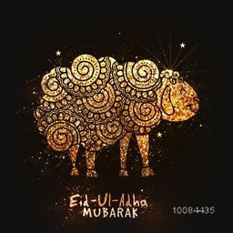 Illustration of golden glittering Sheep and Cleaver Knife in floral doodle pattern style on sparkling brown background for Muslim Community, Festival of Sacrifice, Eid-Al-Adha Mubarak.