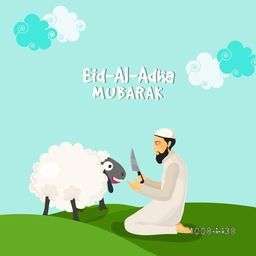 Illustration of a Islamic Man in Traditional Outfit holding Cleaver Knife, Trying to kill Sheep on nature background for Muslim Community, Festival of Sacrifice, Eid-Al-Adha Mubarak.