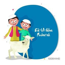 Happy Islamic Kids in Traditional Dress with Sheep for Muslim Community, Festival of Sacrifice, Eid-Al-Adha Mubarak, Vector greeting card design.