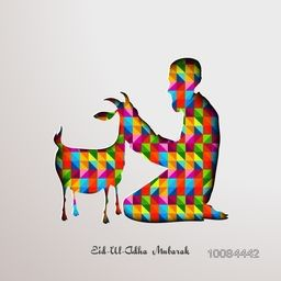Vector illustration of Islamic Man with Goat in colorful origami style for Muslim Community, Festival of Sacrifice, Eid-Al-Adha Mubarak.