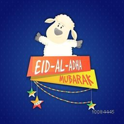 Muslim Community, Festival of Sacrifice, Eid-Al-Adha Mubarak with illustration of cute Baby Sheep and glossy banners on blue background.