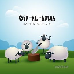 Muslim Community, Festival of Sacrifice, Eid-Al-Adha Celebration with illustration of Sheep and Butcher's Block on nature background, Vector illustration.