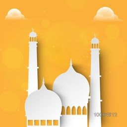 Creative paper cutout of Mosque on yellow cloudy background for Muslim Community Festival Celebration.
