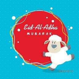 Cute funny dancing Baby Sheep with rounded frame for Muslim Community, Festival of Sacrifice, Eid-Al-Adha Mubarak, Vector greeting card design.