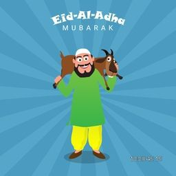 Illustration of a Islamic Man carrying a Goat on his shoulders on abstract rays background for Muslim Community, Festival of Sacrifice, Eid-Al-Adha Celebration.