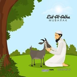 Illustration of a Islamic Man with Goat and Cleaver Knife on nature background for Muslim Community, Festival of Sacrifice, Eid-Al-Adha Mubarak.